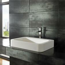 60cm by 41.5cm Rectangular Solid Surface White Counter Top Bathroom Sink Basin