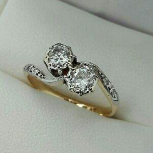 18ct Yellow Gold & Platinum Diamond Set 2 Stone Twist Ring, Finger Size L