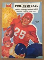 1963 AFL KANSAS CITY CHIEFS VS OAKLAND RAIDERS FOOTBALL PROGRAM - CHIEFS 1ST GM