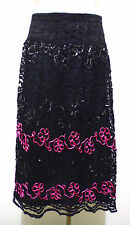 CULT VINTAGE '60 Gonna Donna Pizzo Paiette Lace Can Can Skirt Woman Sz.L - 46