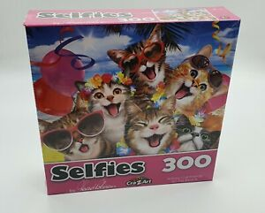 Selfies - Happy Cat Friends at the Beach - 300 Piece Jigsaw Puzzle