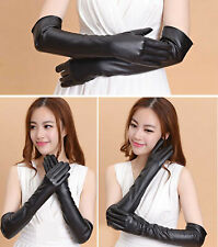 Adult Sexy Long Latex Leather Gloves Black Ladies Clubwear Sexy Catsuit Cosplay