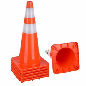 """6x 28"""" Traffic Cones Reflective Driveway Parking Construction Safety Road Guide"""