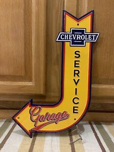 Chevrolet Service Garage Sign Arrow Vintage Style Wall Decor Tools Oil Gas Bar