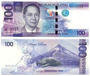 2014 PHILIPPINES NGC 100 Piso Solid Serial GX333333 Note Aquino Tetangco UNC