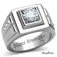 MEN'S 1.50 CT ROUND BRILLIANT CUT CUBIC ZIRCONIA STAINLESS STEEL RING SIZE 8-13
