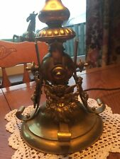 Original Heavy Antique  Brass Table Lamp,Side/Desk Light Cherubs on Base. Used