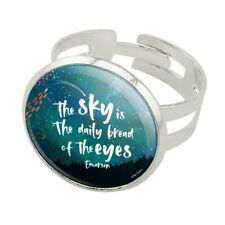 Sky Daily Bread of Eyes Emerson Quote Silver Plated Adjustable Novelty Ring