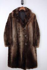 VTG Womens Beaver Fur Coat Double Breasted Phantom Sheared Thick Brown Winter
