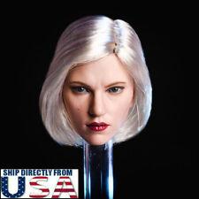 1/6 Black Widow Scarlett Johansson Head Sculpt Silver Hair For Hot Toys PHICEN