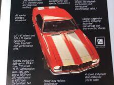 Chevy Chevrolet Camaro Z 28 Dealer Poster Car
