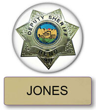 "RENO 911 JONES NAME BADGE & DEPUTY 3"" BUTTON HALLOWEEN COSTUME PIN BACK"