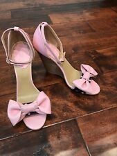 Red Valentino Pink Leather Bow Wedge Heels, Size 8 (US) 38 (IT)