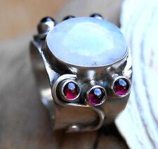 Breit 2 cm Silberring 60 61 Mondstein Regenbogen Granat Rot Ring Silber Floral