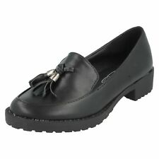 Spot On H3R035 Black PU Loafer with Tassled Detail (R4A)