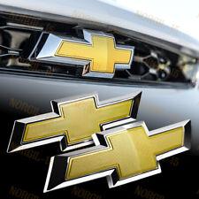 For 2014-2018 Chevy Chevrolet Impala Front Grille + Rear Bowtie Emblem Set Gold