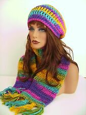 BRIGHT HOT MULTI HAND CROCHET HAT AND SCARF SET HAND MADE BEANIE CLOCHE TAM CAP