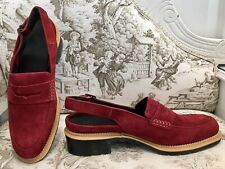 Dr Martens Romana, Uk Size 7, Red Suede, Sling-back Loafers