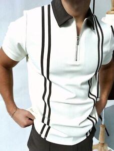 Polo Shirt Men Zipper Collar Fashion Fitness Golf Short Sleeve Contrast T-Shirts