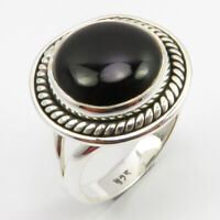 925 Solid Silver Black Onyx Old Style Ring Size 7.75 Ladies Gems Jewelry