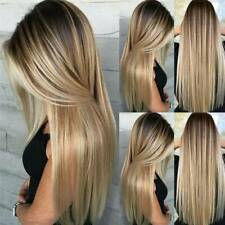 Women's Blonde Wig Ombre Long Brown Gold Straight Black Synthetic Hair Wigs