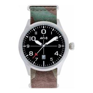 Mens Wristwatch + Watchband AVI-8 FLYBOY AV-4028-SETB-01 Leather Camouflage