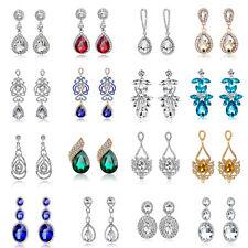 Luxury Bridal Crystal Floral Teardrop Diamante Dangle Earrings Wedding Prom Gift