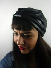 Bonnet original turban stretch effet wetlook noir pinup rétro glamour