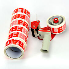 Tape Gun Dispenser & 12 Large Rolls Of Fragile 48mm x 50m Parcel Packing Tape**