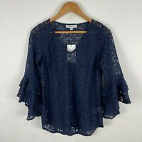 Preview Womens Top 6 Blue Lace Floral Trumpet 3/4 Sleeve V-Neck