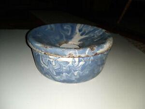 Antique Blue White Swirl Ware SPITTOON