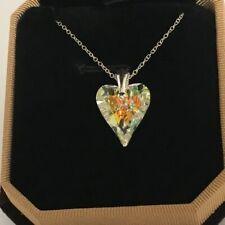 Swarovski Elements Crystal Wild Heart Necklace Pendant Aurora Boreale AB Silver