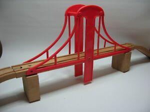 LARGE BRIDGE   fits Wooden Train Track Set ( RED ) ( Thomas ) F12