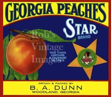 Georgia Peaches Star Fruit Crate Label Art Print  BA Dun Woodland Ga