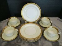 NORITAKE 4985 JAPAN GOLDKIN 14 PIECES 6 SALAD PLATES 4 FOOTED CUPS & SAUCERS