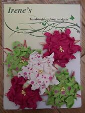 5 x green/pink spots gardenia mulberry paper flowers-card making/scrapbooking