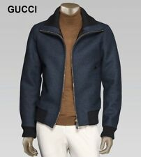 New GUCCI wool jacket leather details bomber teddy coat blue classic L 42 52 NWT