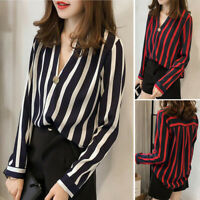 Women V Neck Long Sleeve Stripes Casual Shirt Loose Tunic Blouse Tops Autumn
