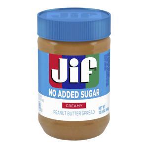 Jif NO ADDED SUGAR Creamy Peanut Butter Spread (1) 15.5 OZ Jar