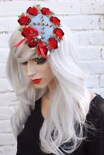 ROSE DENIM CROSS BRIDAL GOTHIC GOTH ALT VAMPIRE HAT FASCINATOR kawaii harajuku