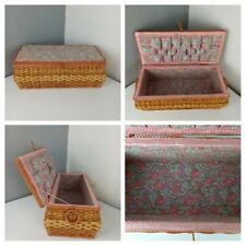 More details for vintage 1950s - wicker sewing box basket pink ditsy floral handles empty