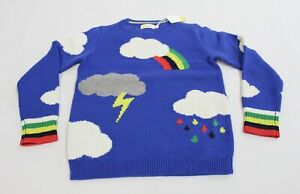 Boden Boy's L/S Rainbow Weather Crew Sweater SV3 Moroccan Blue Size 9-10Y NWT