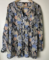 Lucky Brand 3/4 Long Sleeve Top Floral Peasant Romantic Boho Blouse Button Up 3X