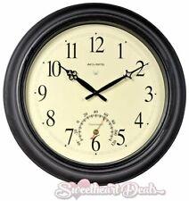 AcuRite 18 inch Round Atomic Black Metal Outdoor Clock w/ Thermometer Garden