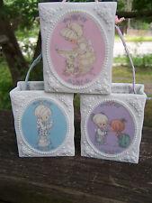 3 set vintage Precious Moments porcelain Gift Bags Box Enesco 1993 2x2 figurine