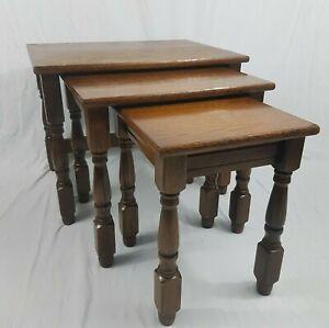 Antique Vintage Nest Of Tables Old Charm Style Dark Wood x 3 Set