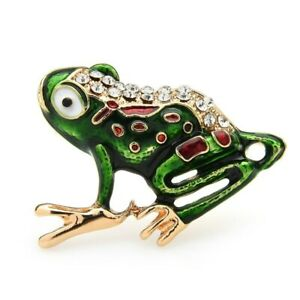Frog Brooches Rhinestone Animal Party Pins Women Men Enamel Casual Jewelry Gift