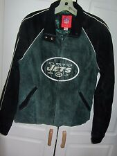 NFL for Her New York Jets suede full zip 2 pocket jacket size Medium sewn logos
