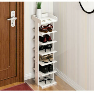 Tall Shoe Cabinet Storage Rack 7 Tiers Stand Shelf Shoes Organiser White UK