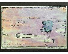 Arnim Ziemann: Ballonfahrung - Sign. Orig. Zeichnung, kol. -  Surrealismus